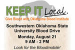 08-14-2017 Blood Drive Planned August 21 at SWOSU by Southwestern Oklahoma State University