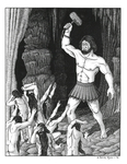 """Back Cover: """"Aulë about to slay his creation of the Dwarves"""", Issue 32"""