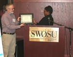 Yolanda Carr Presents Certificate of Appreciation Plaque to Jason Johnson